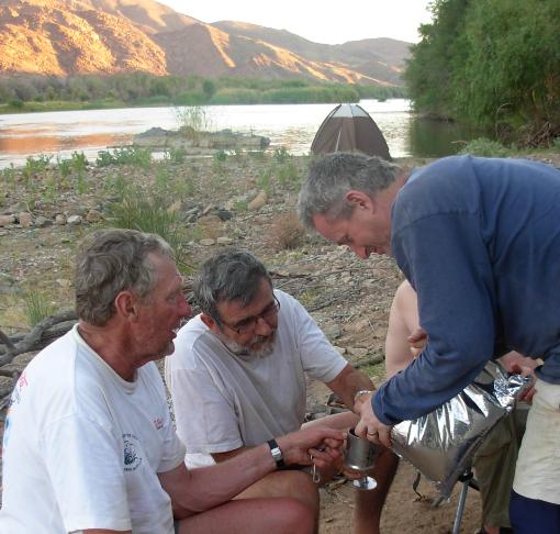 Attie Visser, Walter Baumgartl & Arnold Paikin on the 2008 Orange River Canoe Trip