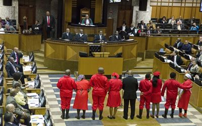 EFF Members in their haute coutre when being sworn in as MPs in May 2014