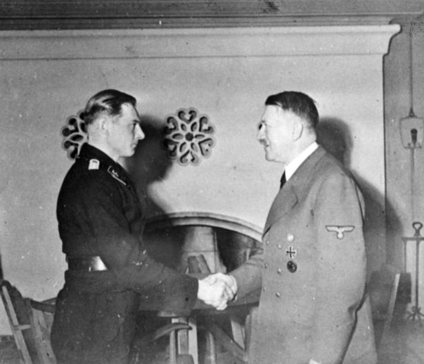 Michael Wittmann being awarded a medal by Adolf Hitler