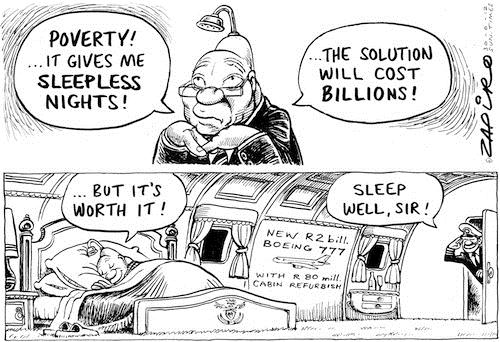 120701 — Double talk: Zuma's Bling Boeing and talk about failure of the government to help South Africa's poorest published in Sunday Times on 1 Jul 2012