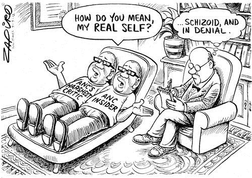 120909 — Vavi on the couch at the Shrink. Is there a Cure to Schizophrenia and Denialism? published in Sunday Times on 9 Sep 2012