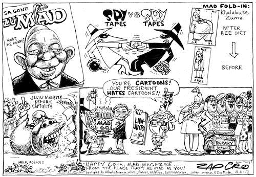121104 — Mad Magazine turns 60 - Birthday card from Zapiro published in Sunday Times on 4 Nov 2012