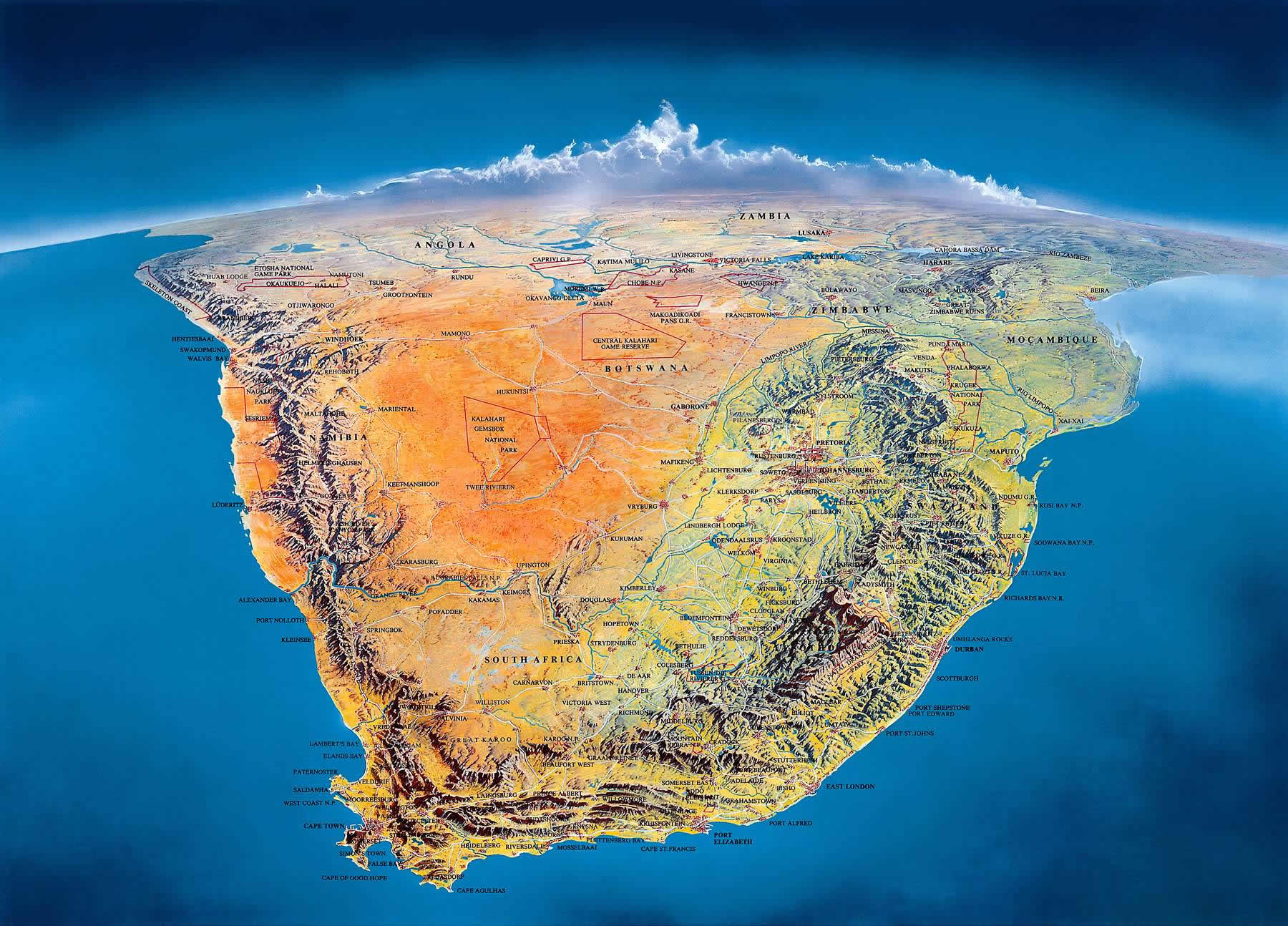 South Africa from a satellite