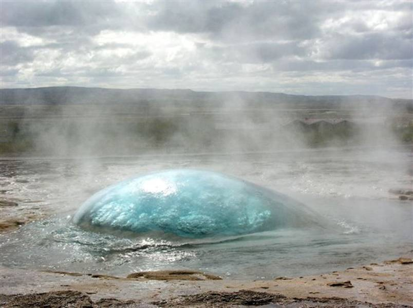 A geyser just before erruption