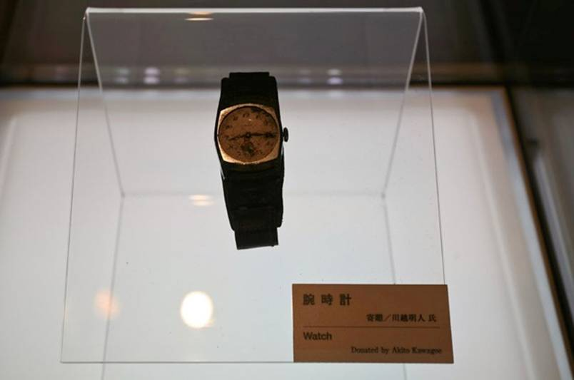A watch belonging to Akito Kawagoe which stopped at 8h15 the exact time of the Hiroshima bombing in 1945