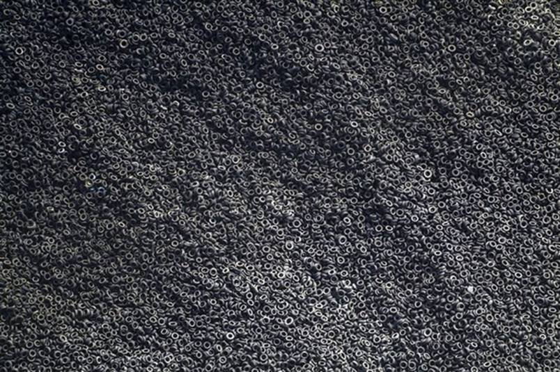 An aerial view of a scrap tyre dump