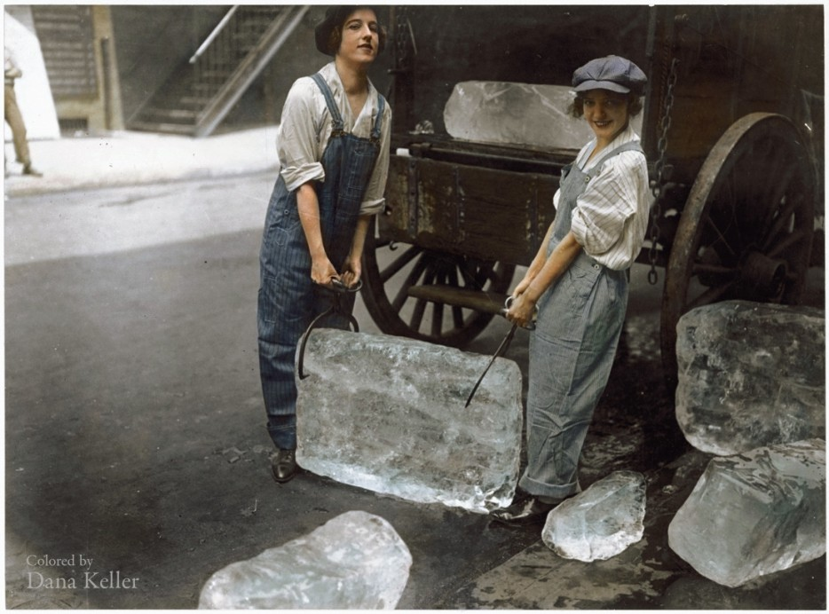 Girls delivering ice in 1918