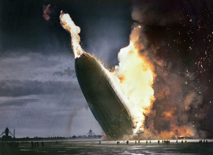 The German passenger airship LZ 129 Hindenburg caught on fire and crashed in 1937