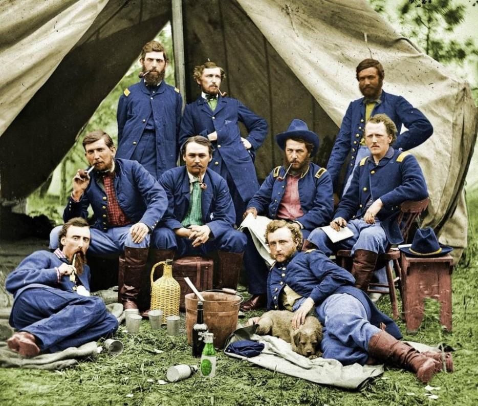 Union soldiers taking a break in 1863