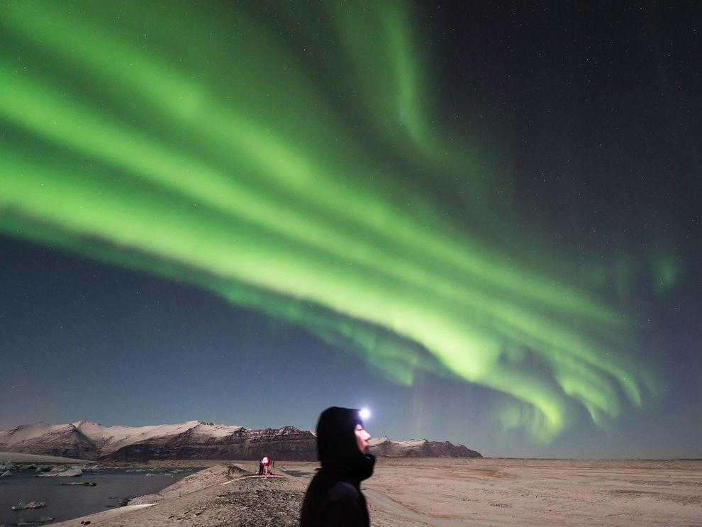 An aurora photographed at Jökulsárlón glacier lagoon Iceland