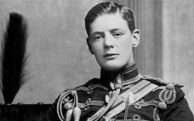 Churchill, aged 19, in the uniform of the Fourth Queen's Own Hussars