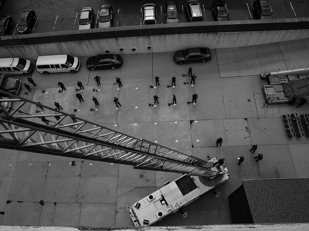 Cincinnati Fire Department recruits participate in a morning drill