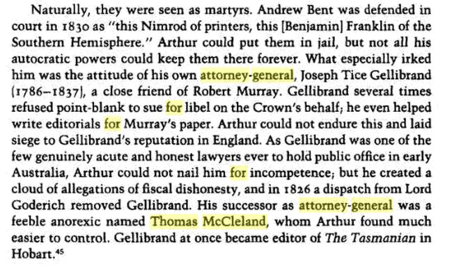 Comment on Thomas-McCleland, the Attorney General of Van Demien's Land,from the book Fatal Shore