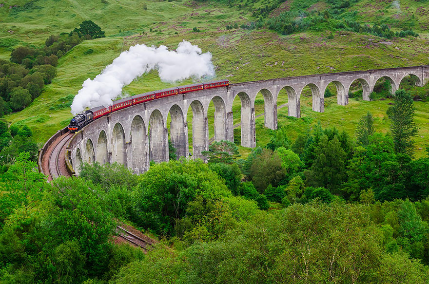 GLENFINNAN VIADUCT, SCOTLAND IN SUMMER