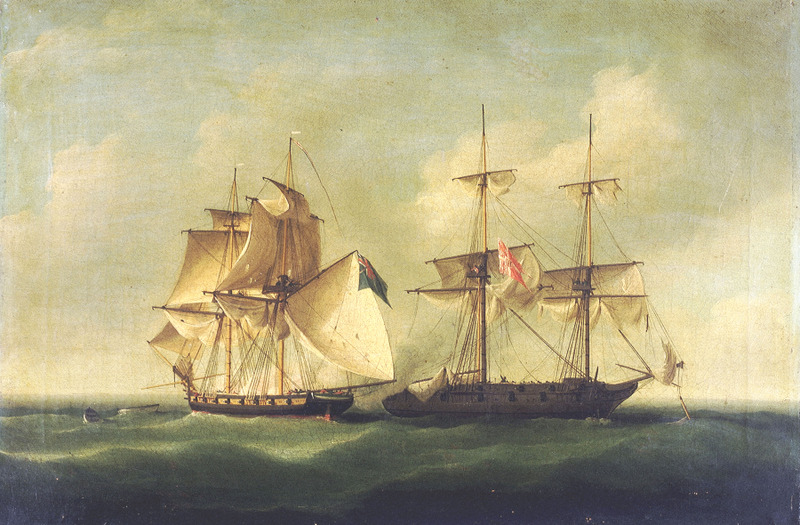 HMS 'Sappho' capturing the Danish brig 'Admiral Jawl', 2 March 1808: surrender of the brig'. The painting has been signed by the artist and dated 1808, and has a large number of stamps and inscriptions on the verso.