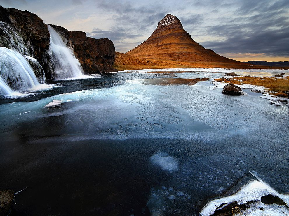"Iceland's Kirkjufell, which means ""church mountain,"" is located on the coast of the Snaefellsnes Peninsula in the country's west"