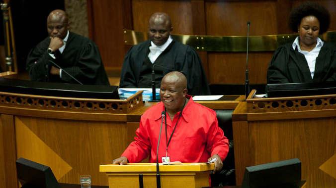 Julius Malema addressing Parliament