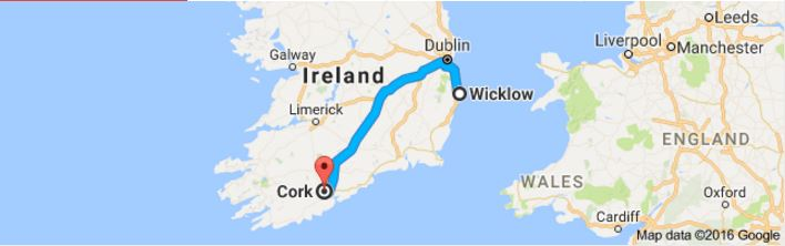 Map of Wicklow to Cork