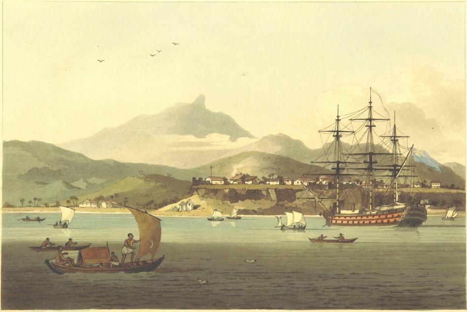 Porto Praya Island of St Jago Cape Verde Islands. Painted by Sir John Barrow