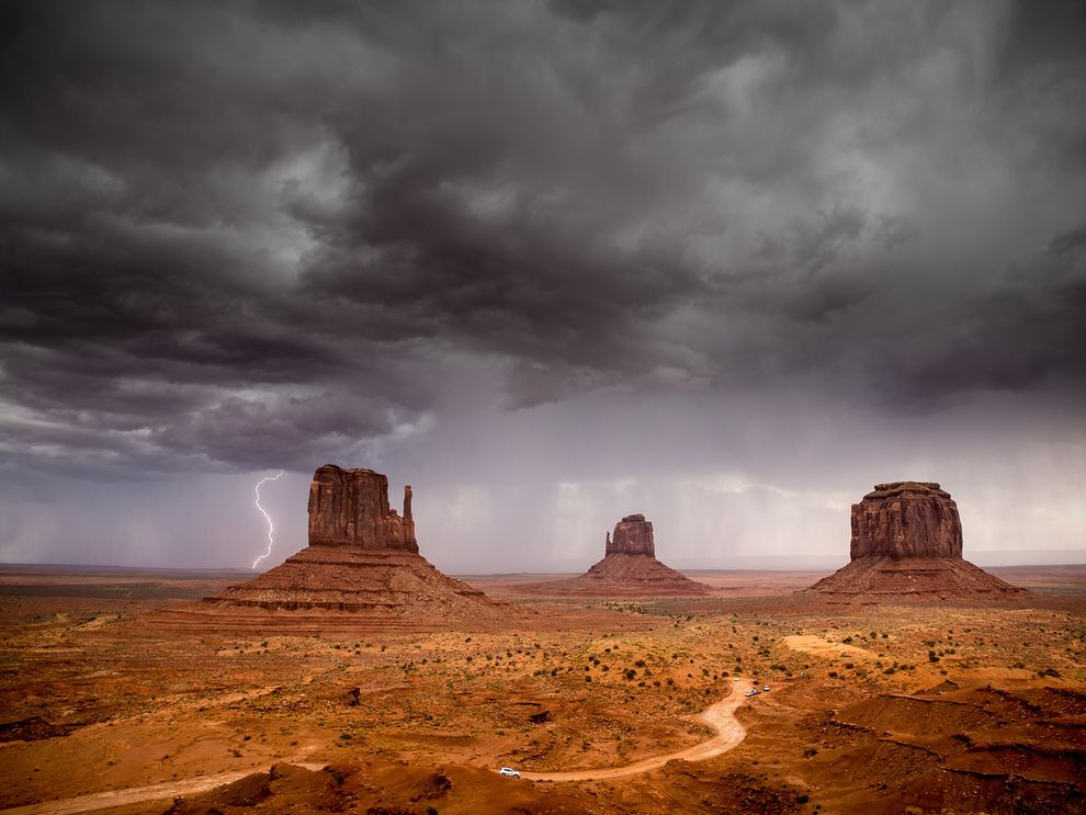 Stormy weather sweeping the Arizona's Monument Valley Navajo Tribal Park landscape