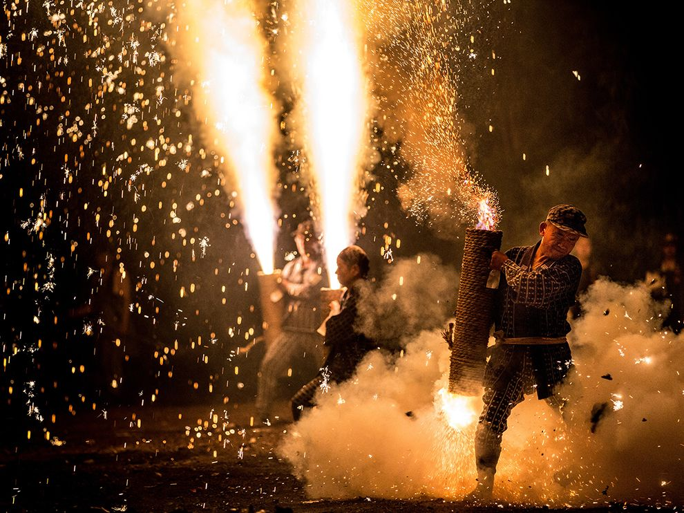 These homemade and handheld 'pistol fireworks' are used at the Gion Matsuri festival at the Yoshida Shrine in Toyohashi City, Japan