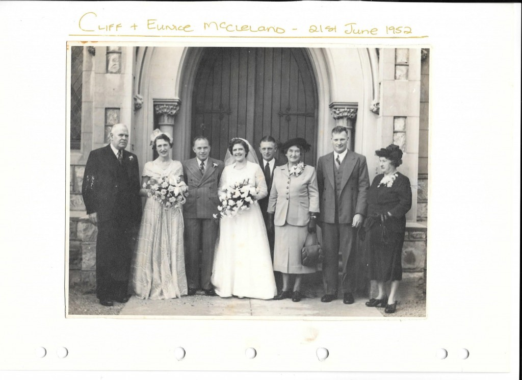 Wedding photo from left- Harry St George Dix-Peek, Sylvia, Harry, Eunice, Unknown, Granny Dix, Bryce, Granny Mac