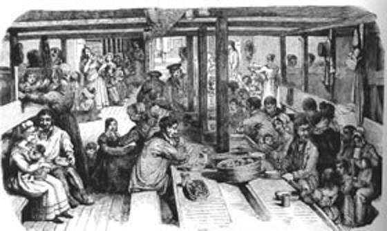 What conditions were like for the settlers on board ship