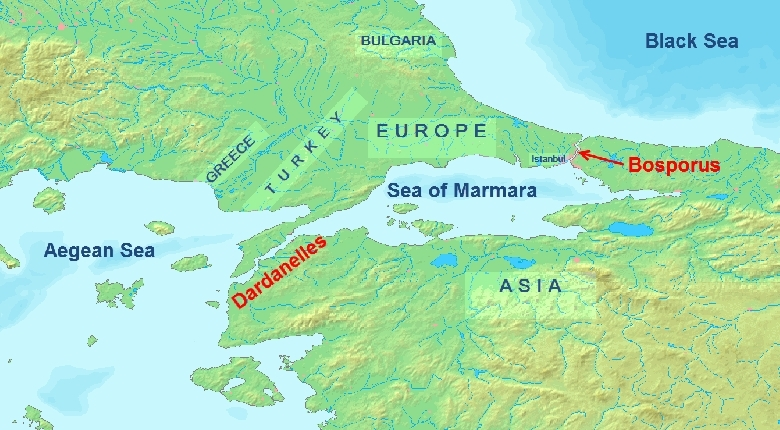 Map of the Dardanelles. The high risk nature of this endeavour is clearly evident