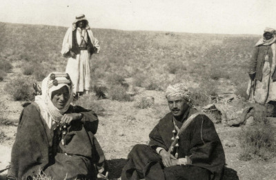 T.E. Lawrence in Wadi Rum, 1917. Auda Abu Tayi is seen in the background