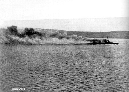 The last moments of the French battleship Bouvet, 18 March 1915
