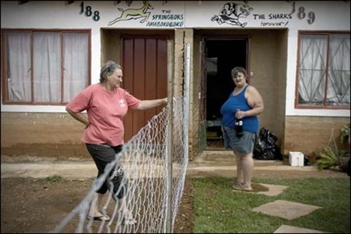 Mrs Koekie van der Berg and Mrs Annemarie Kapp were amongst the 15 Afrikaner families who were given public housing in the black township of Kagiso