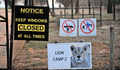Notice at Lion Park