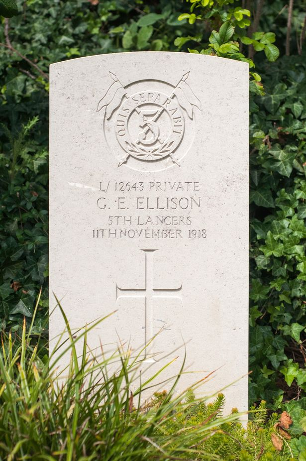 The grave of Private George Ellison, the lasst British soldier t be killed during WW1