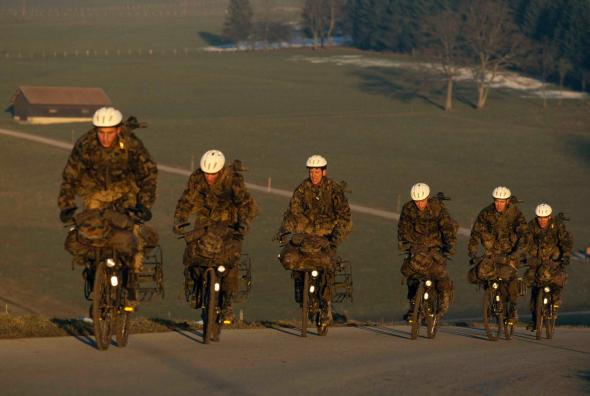 The Swiss were the last military corps to have a bicycle squad, which was disbanded in 2003, though bikes are still used for training and transport on base