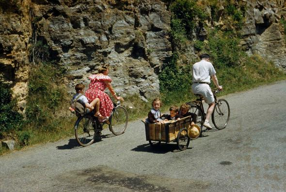 A family in rural France goes for a Sunday ride in a photograph from a 1951 issue of National Geographic. The term bicycle first appeared in an 1868 article