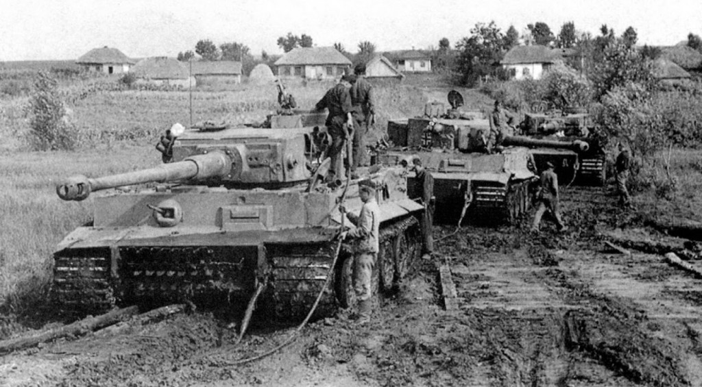 Panzerkampfwagen vi or Tiger Tank stuck in the mud in Russua