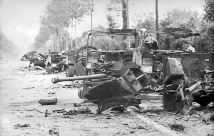 The trail of destruction wrought on a motorcade of the British 7th Armoured Division, destroyed by Michael Wittmann in Villers Bocage