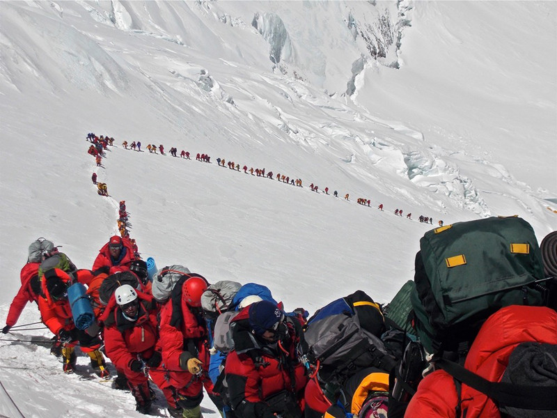 Climbers going up Mount Everest in 2013
