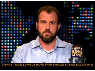 James Frey being interrogated on Larry King Live about the inconsistencies and fabrications in the book