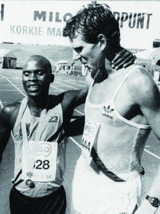 Bob winning the Korkie in 1986 with Hosea Tjale as runner-up