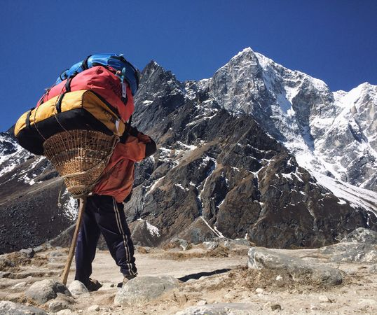 A Sherpa carrying a 90kg pack