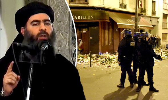 Leader of ISIS, Abu Bakr al-Baghdadi , with a picture of mayhem wreacked by his organisation