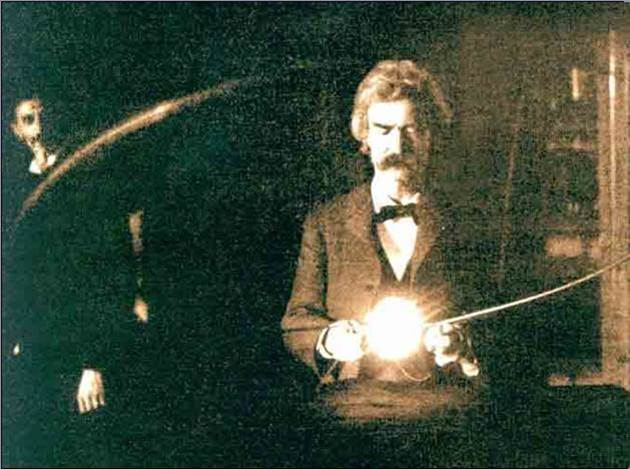 1894. Photo of Mark Twain in the lab of Nicola Tesla
