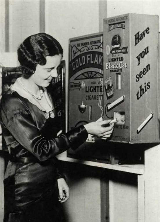 1931. A vending machine that sold cigarettes already lit for a penny