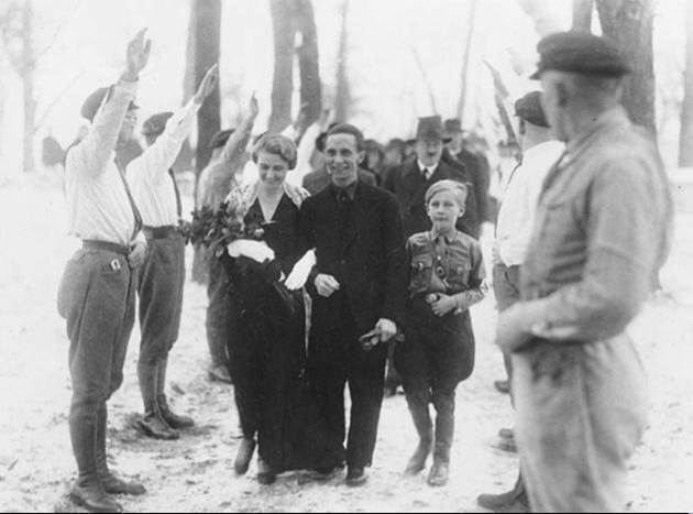 1931. Marriage of Joseph Goebbels. Hitler was his best man and can be seen further back with a hat