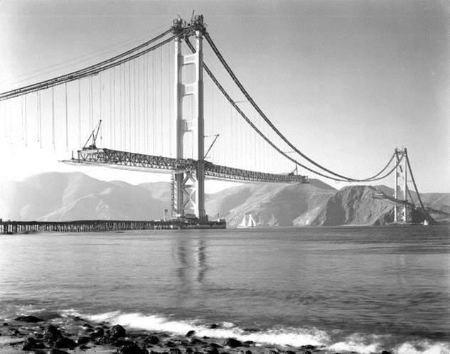 1937. Golden Gate Bridge construction