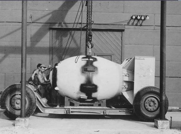 1945. Nagasaki atomic bomb being transported to the plane that would be launched in a few days
