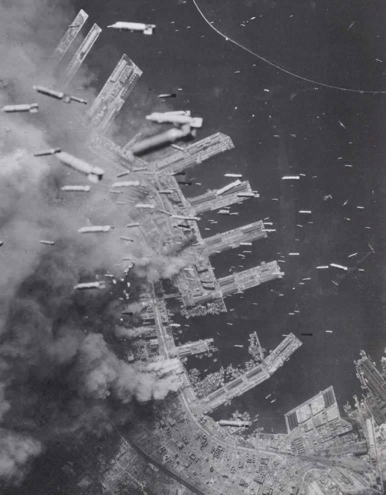 1945. USA dropping bombs on Kobe, Japan