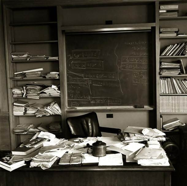 1955. The office of Albert Einstein taken on the day that he died on April 18, 1955