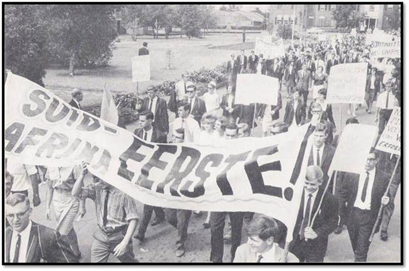 1965 - The banner reads - South Africa first!